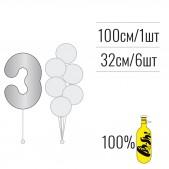 Набір цифра 3 + кульки металік