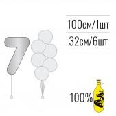 Набір цифра 7 + кульки металік